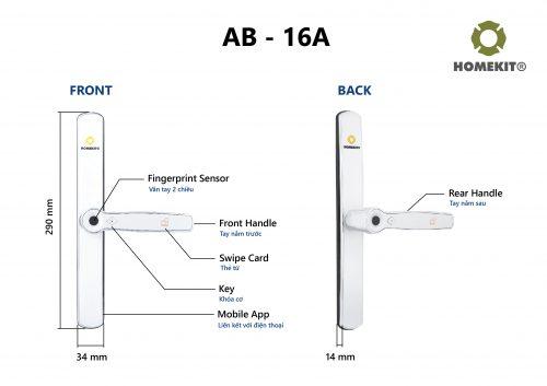 Khoá HomeKit AB-16A 2 chiều 4 tính năng: thẻ từ, vân tay, khoá cơ