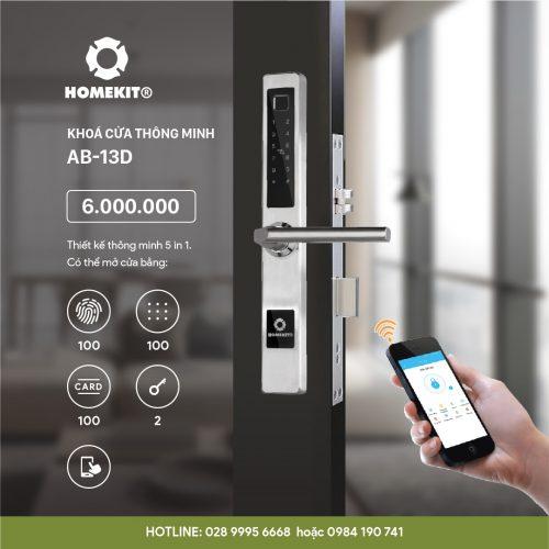 Khoá HomeKit AB-13D khóa vân tay điều khiển qua app điện thoại 5 tính năng