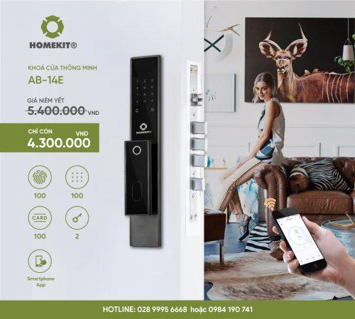 Khóa HomeKit AB-14E Khoá vân tay điều khiển qua app điện thoại 5in1