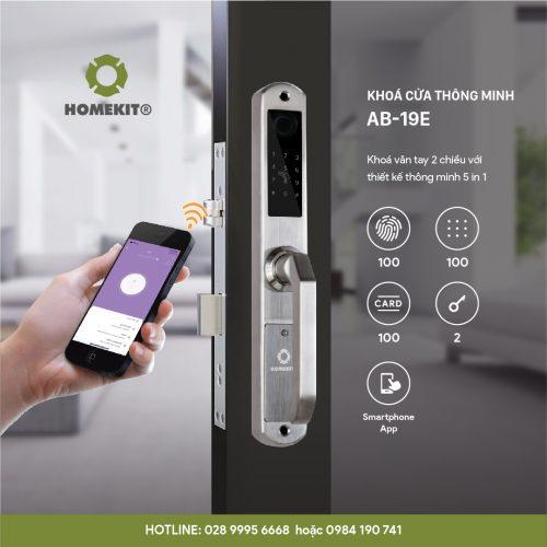 Khóa HomeKit AB-19E khóa vân tay 2 chiều chuyên lắp cho cửa đố hẹp với 5 tính năng