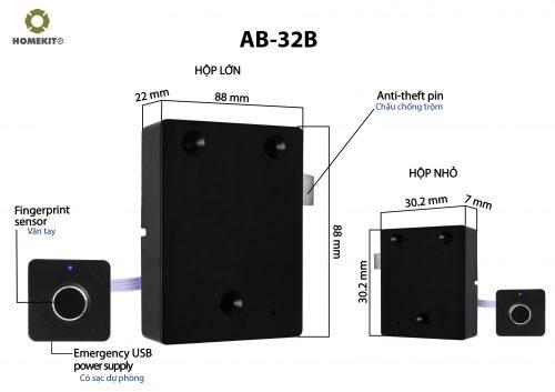 Khóa HomeKit AB-32B khóa vân tay chuyên dụng cho cửa tủ