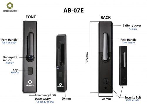 Khóa HomeKit AB-07E chuyên lắp cho cửa gỗ với 4 tính năng